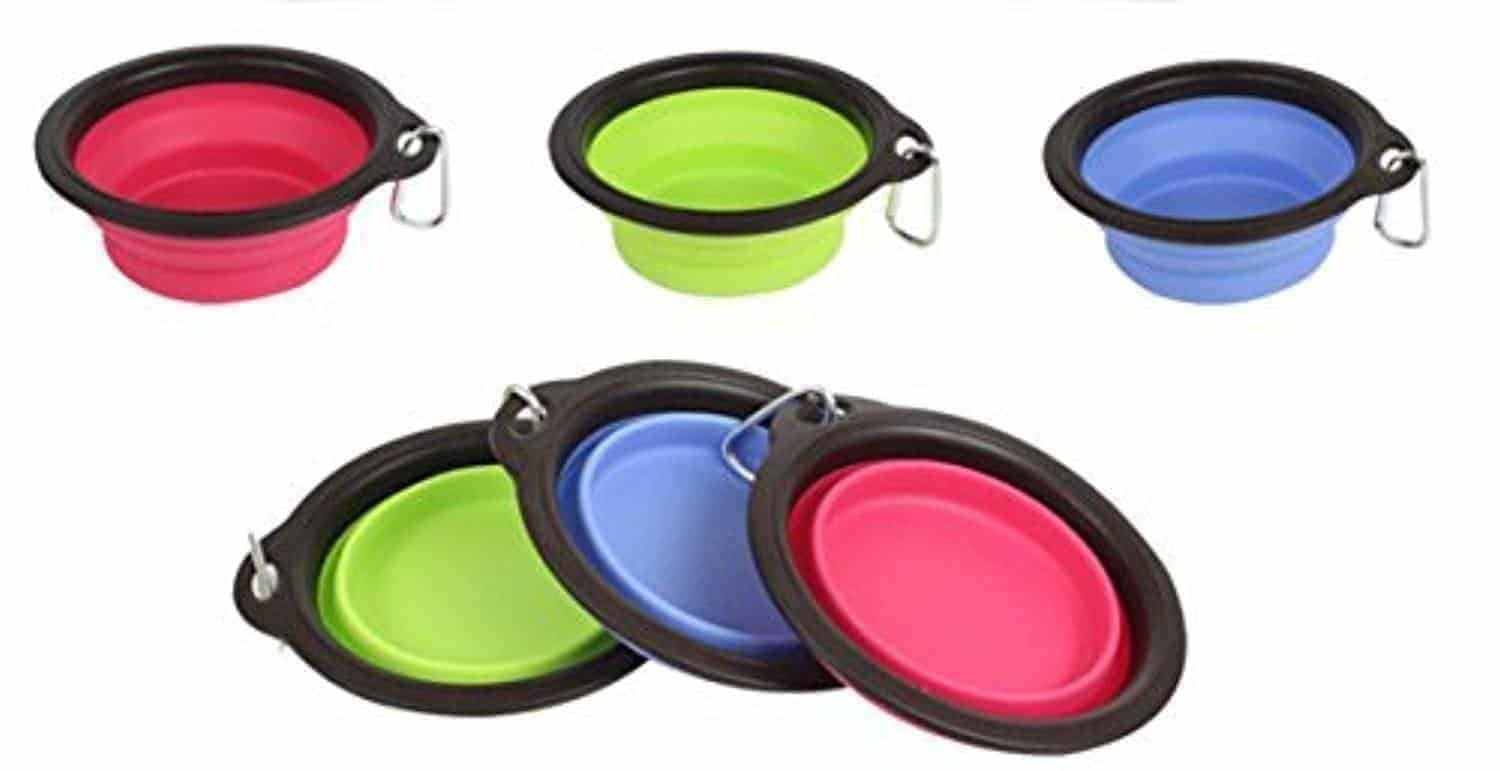 collapsible travel food and water bowls